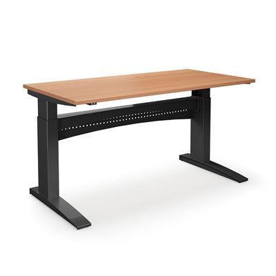 Höj och sänkbart skrivbord Denver, rak, LxB 1800x800 mm, bok/svart