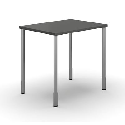 Skrivbord Duo-C, rak skiva, LxB 800x600 mm, mörkgrå/silver