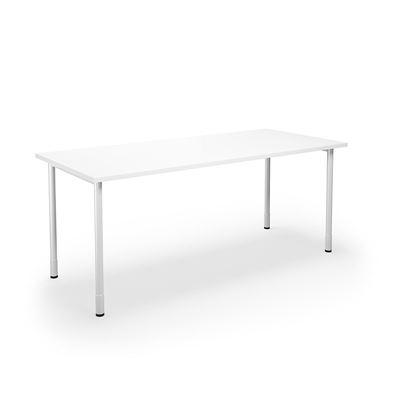 Skrivbord Duo-C, rak skiva, LxB 1800x800 mm, vit/vit