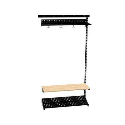 Klädfack Savalen, vägghängd, B 900 mm, svart, modell D, utbyggnad