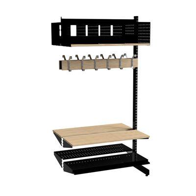 Klädfack Savalen, dubbelsidig, B 900 mm, svart, modell C, utbyggnad