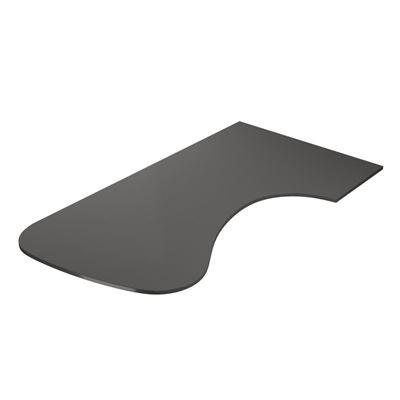 Skrivbordsskiva Hörna Rund, vänster, LxB 2200x1200 mm, mörkgrå