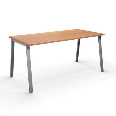 Skrivbord Duo-A, rak skiva, LxB 1800x800 mm, bok/silver