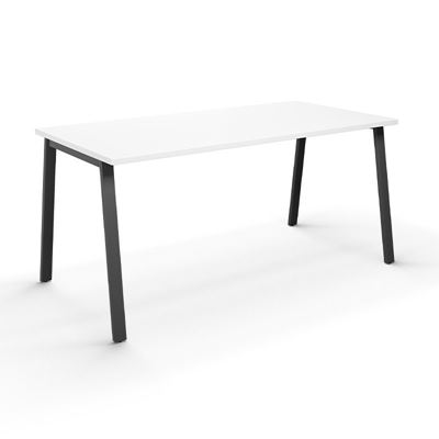 Skrivbord Duo-A, rak skiva, LxB 1800x800 mm, vit/svart