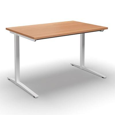 Skrivbord Duo-L, rak skiva, LxB 1400x800 mm, bok/vit