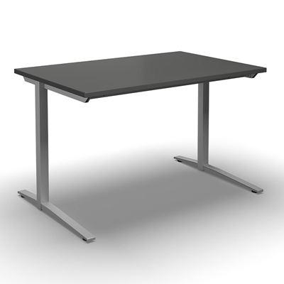 Skrivbord Duo-L, rak skiva, LxB 1400x800 mm, mörkgrå/silver