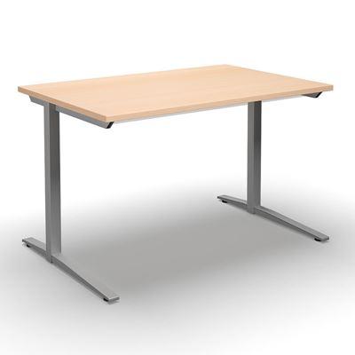 Skrivbord Duo-L, rak skiva, LxB 1400x800 mm, björk/silver