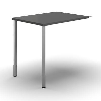 Förlängningsskiva till Hörnskrivbord Duo-C, LxB 800x600 mm, mörkgrå/silver