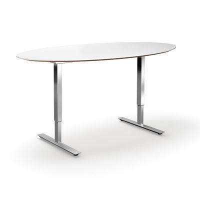 Höj och sänkbart konferensbord Trend, elips, LxB 1900x1000 mm, vit/krom, 6 platser