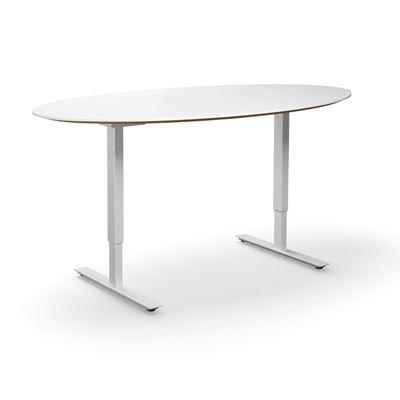 Höj och sänkbart konferensbord Trend, elips, LxB 1900x1000 mm, vit/vit, 6 platser