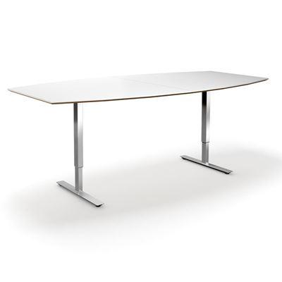 Höj och sänkbart konferensbord Trend, LxB 2400x1200/800 mm, vit/krom, 8 platser