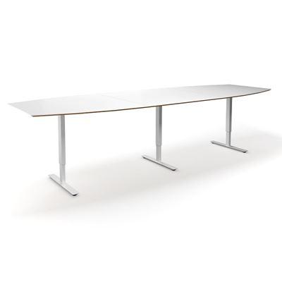 Höj och sänkbart konferensbord Trend, LxB 3200x1200/800 mm, vit/vit, 10 platser