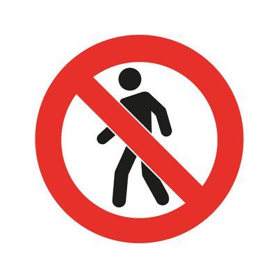 Golvmärkning PVC, förbudsskylt, gångtrafik förbjuden, Ø 430 mm, 2 st/fp
