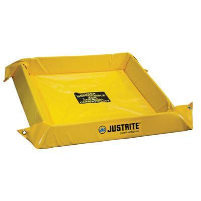 Uppfällbar skyddsbassäng Justrite, LxBxH 2134x2134x102 mm, volym 341 liter, monterad