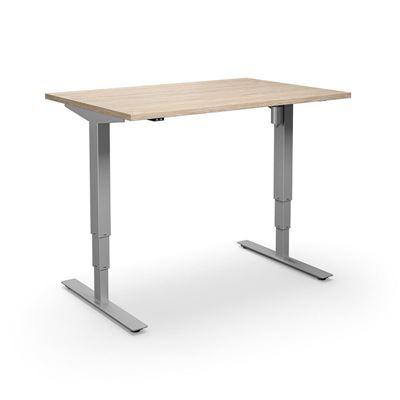 Höj och sänkbart skrivbord Atlanta, rak, LxB 1400x800 mm, ek/silver