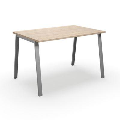 Skrivbord Duo-A, rak skiva, LxB 1400x800 mm, ek/silver