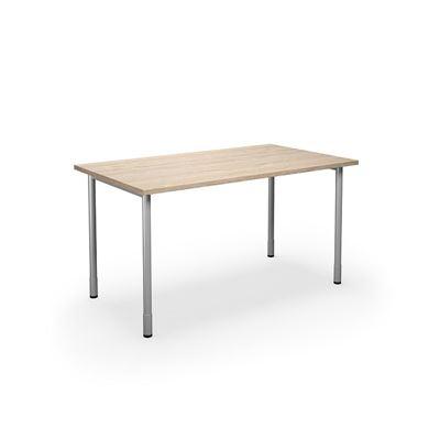 Skrivbord Duo-C, rak skiva, LxB 1400x800 mm, ek/silver