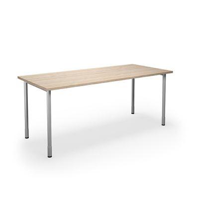 Skrivbord Duo-C, rak skiva, LxB 1800x800 mm, ek/silver