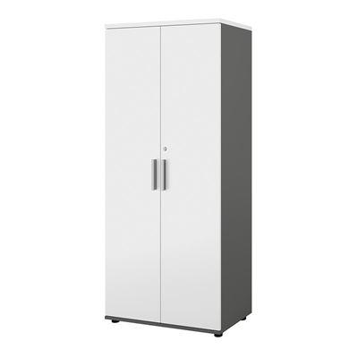 Bokhylla Portland, BxDxH 800x420x1845 mm, mörkgrå/vit, med dörrar, dörrhöjd 1770 mm