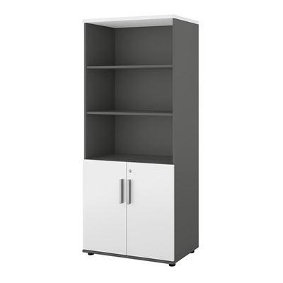 Bokhylla Portland, BxDxH 800x420x1845 mm, mörkgrå/vit, med dörrar, dörrhöjd 700 mm
